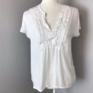 Anthropologie Dolan White V-Neck Blouse